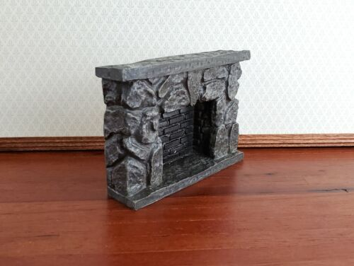 Dollhouse Miniature Fireplace Stone Black Gray Fieldstone 1:12 Scale
