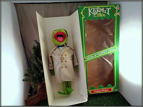 VINTAGE 1981 FISHER-PRICE JIM HENSON KERMIT THE FROG DRESS-UP MUPPET DOLL IN BOX