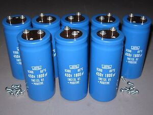 Lot of (8) 450V 1800uF Electrolytic Capacitors, High-Voltage, NEW In Box!