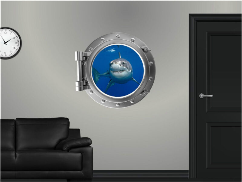 "24"" PortScape Sea Window View Shark #1 Wall Graphic Porthole Decal Art Sticker"