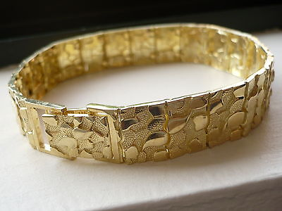 "14MM 10K SOLID GOLD MEN'S NUGGET STYLE BRACELET 8.5"" FREE SHIPPING"