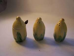 Corn on the Cob Salt & Pepper Shakers & Sugar Retro 1970's Japan Wynyard Waratah Area Preview
