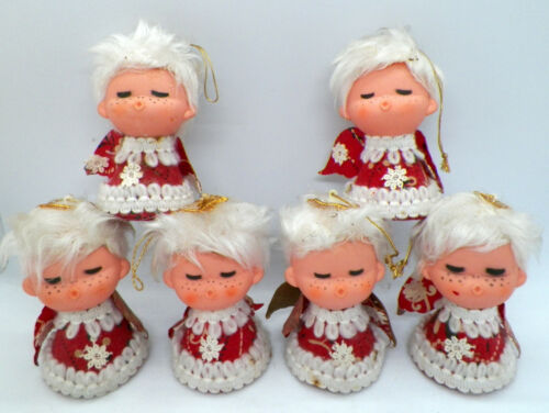 6 Vintage Singing Angel Christmas Ornaments