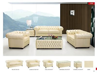 Esf 258 Modern Ivory Genuine Italian Leather Sofa Loveseat And Chair Set 3Pcs