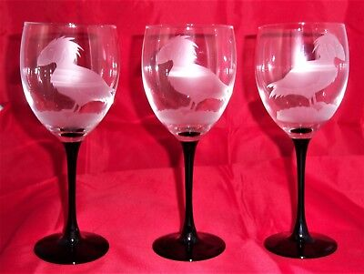 Unique Etched Glass Wine Goblets Puffin Bird Artist Signed Set of 3
