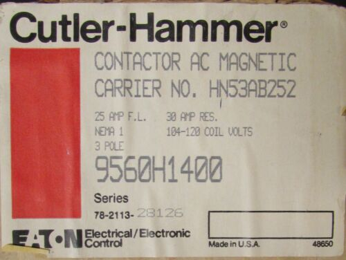 EATON CUTLER HAMMER 9560H1400 CARRIER HN53AB252 104-120VAC Contactor Nema 1 Encl