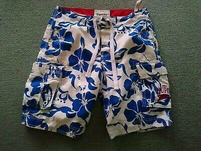 Superdry Blue  Hibiscus Casual Cargo Swim Shorts SZ M  ( 32 )