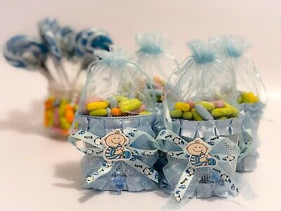 Set of Small Blue Fabric Baskets For Baby Shower Organza Favors Decoration Gift](Gift Bags For Baby Shower Favors)