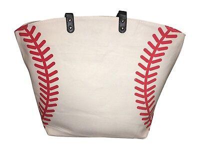 Baseball Canvas Tote Bag, White w Red Seams, Best baseball mom bag