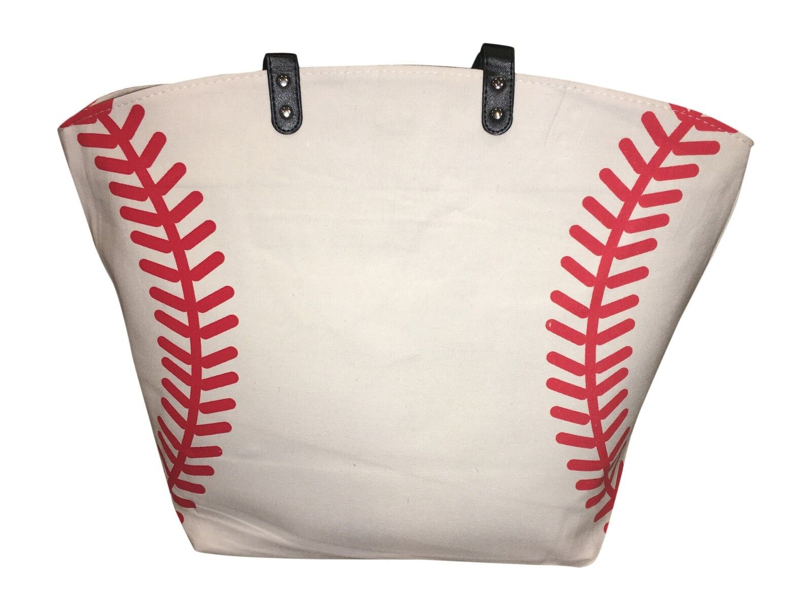 Baseball Canvas Tote Bag, White w Red Seams, Best baseball m