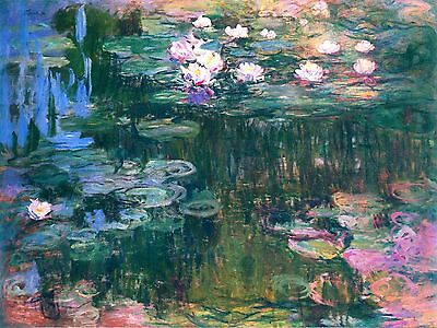 "Water Lilies by Claude Monet, 12"" x16"", Giclee Canvas Print"