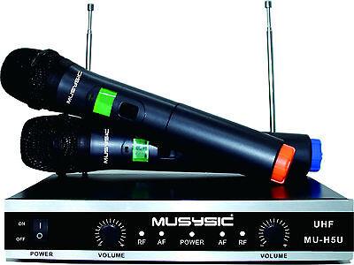 - MUSYSIC Professional Dual Channel UHF Wireless Handheld Microphone System MU-H5U