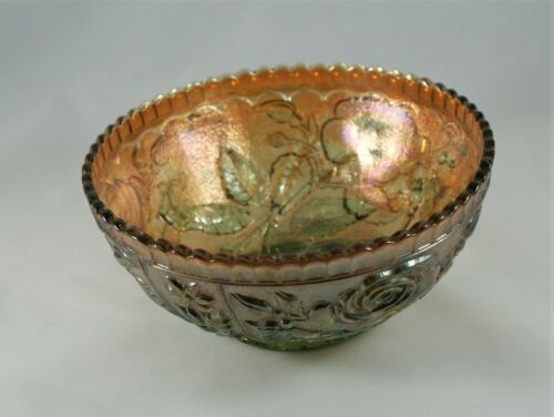 Vintage Green Carnival Glass Bowl with Raised Roses