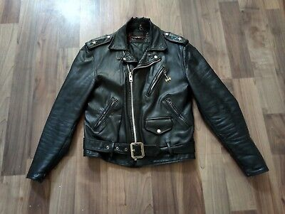 8e000829ddb4b PERFECTO Schott Olive Thick Leather Motorcycle Jacket Biker ...