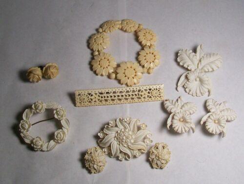 VINTAGE CARVED JEWELRY PINS, EARRINGS, & BRACELET W/ FLOWERS LILIES, ROSES, ETC.