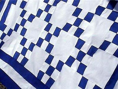 (NEW Blue & White 100% Cotton ~WHEELCHAIR Lap Throw~ Single Irish Chain Quilt Top)
