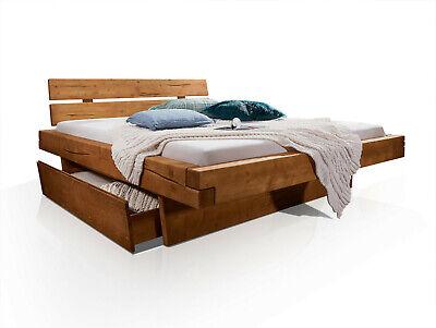 Massivholz Bett (MIRAN Massivholzbett Fichtebett Bett Doppelbett Eichefarbig gebeizt 160x200 cm)