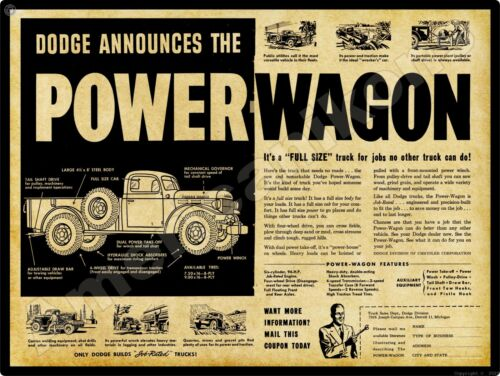 1946/47 Dodge Power Wagon NEW Metal Sign: Features & Specs, Introductory Year!