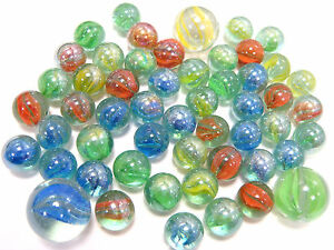 Traditional-Marble-Set-Assorted-Marble-Set-Playing-Marbles-3-Shooters-x-50-New