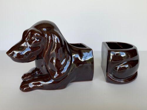 Vintage 2 Piece Dachshund Dog Ceramic Planter, Bookends