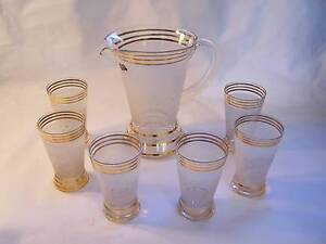 Retro 1970's Waverly Frosted Glass Jug & 6 Glasses CAN POST Wynyard Waratah Area Preview