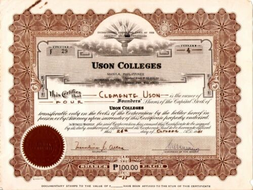 1951 Uson Colleges Founder