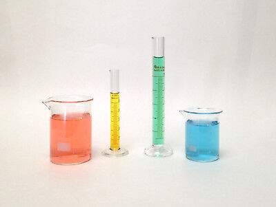 Beaker Set Of 50ml 100ml Cylinder Set Of 5ml 10ml Lab Glass New