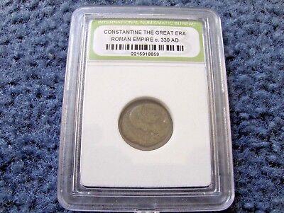 CONSTANTINE THE GREAT ERA ROMAN EMPIRE CIRCA 330 A.D. SLABBED ANCIENT COIN
