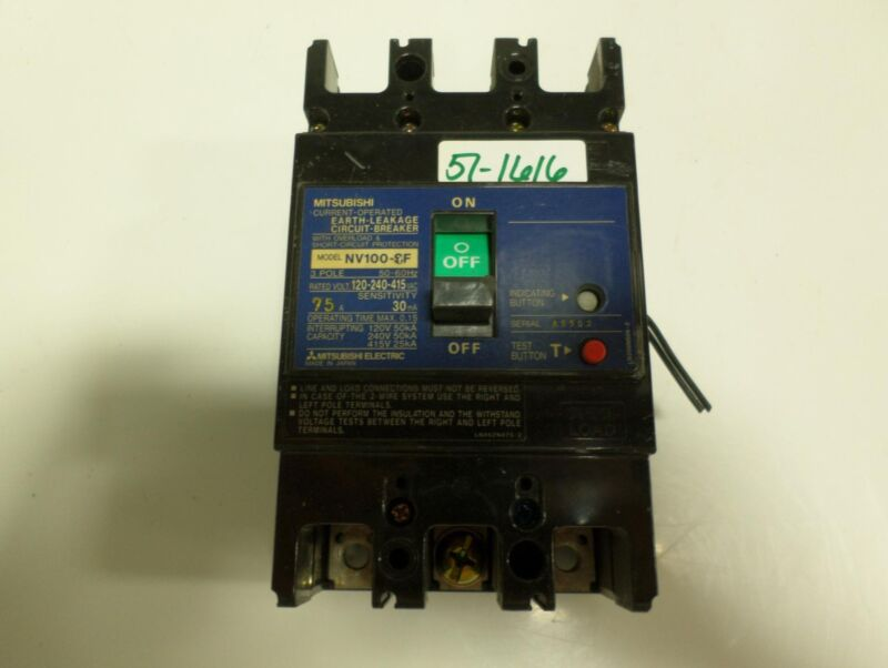 MITSUBISHI 3 POLE 75 AMP EARTH LEAKAGE CIRCUIT BREAKER   NV100-SF