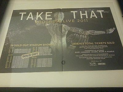 Take That Progress Live 2011 Very Rare Framed Original Tour Promo Poster Ad!