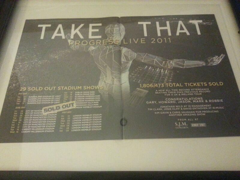 Take That Progress Live 2011 Very Rare Framed Original Tour Promo Poster Ad!