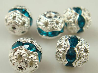 8mm 5pcs Czech Aquamarine Crystal Rhinestone Silver Rondelle Spacer Beads 3D