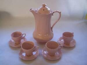 J & G Meakin Rosa Coffee Pot Demitasse Tea Cup & Saucer x4 Wynyard Waratah Area Preview