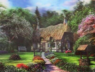 Quaint English Thatched Roof Cottage  Well - 3D Lenticular Poster --12x16 Print