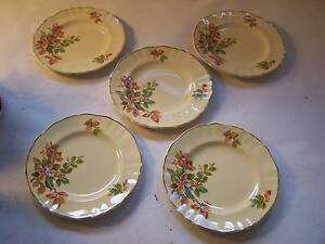 J & G Meakin Floral Side Plate x 5 CAN POST Shabby Chic Wynyard Waratah Area Preview
