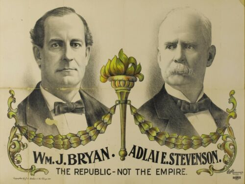 1900 William Jennings Bryan & Adlai Stevenson Campaign Poster NEW Metal Sign