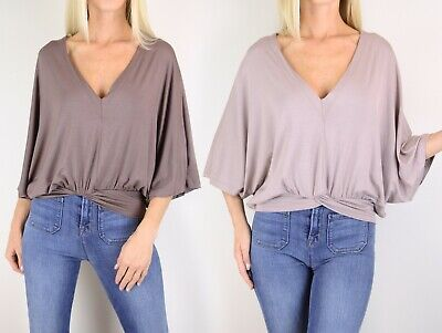 Women's Jersey Knit Loose Top V-neck 3/4 Sleeve Batwing Casual Soft Knit Shirt  Batwing Sleeve Knit Top