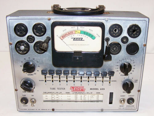Eico 625 Tube Tester working fine with copy of tube settings & instructions