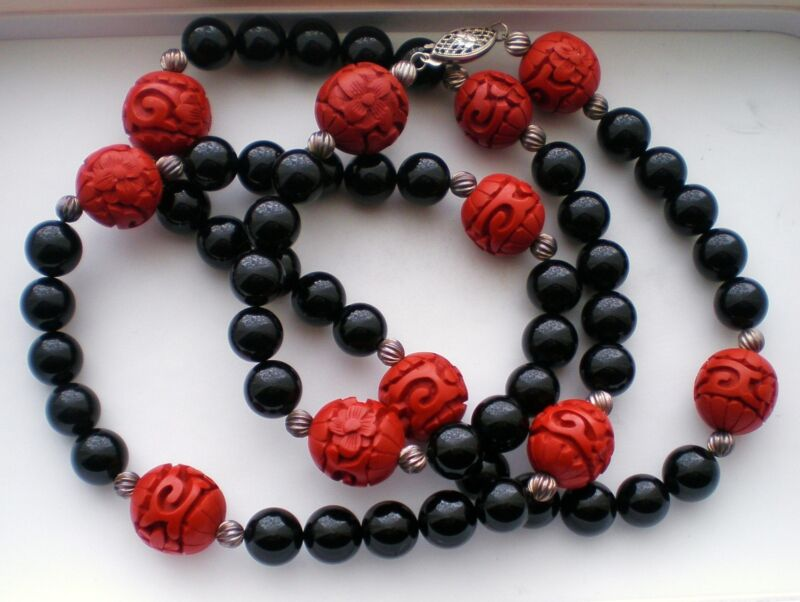 Red Cinnabar Black Onyx Opera Length Sterling Silver 925 Necklace Earrings Set