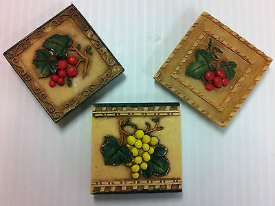 Ceramic TILE Refrigerator MAGNETS - Set of 3 - Tusca GRAPES