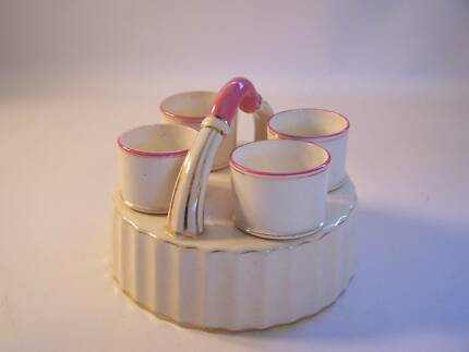 Beautiful Egg Cup x 4 & Cradle WILL POST  Pink Cream