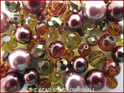 Glass Bead Mix / Bracelet Making Kit -  Brown & Gold - Indulgence ()