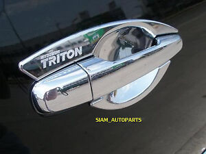 2 X CHROME DOOR HANDLE INSERT INSERTS MITSUBISHI TRITON L200 06 - 14 07 08 09 10