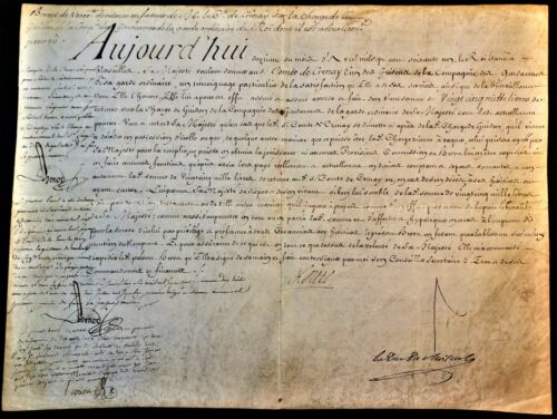KING LOUIS XV SIGNED NOMINATION OF GUIDON AS AN OFFICER IN THE GENDARMERIE 1761