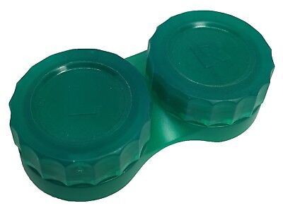 Chunky Flat Jade Green Contact Lens Storage Soaking Case - L+R Marked - UK Made