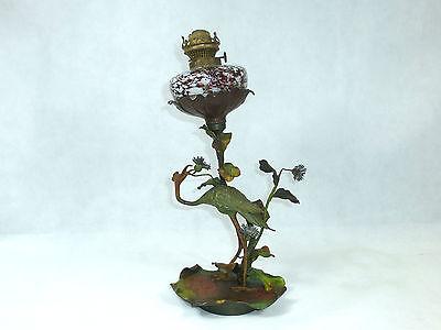 Petroleumlampe Lampe in der Art von Wiener Bronze um 1880 bemalt Aventuringlas