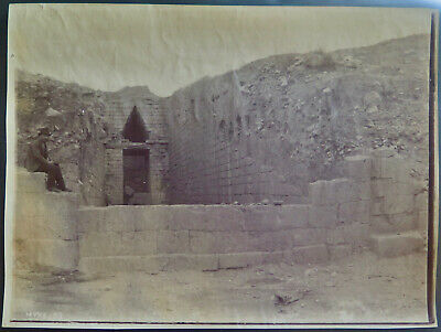 Mycenae, Beehive Tomb 6 II Entrance Vintage Albumen photo, c. 1880