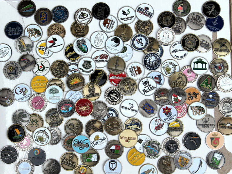 BATCH 12 MIXED COUNTRY CLUB COURSE EVENT LOGO GOLF BALL MARKERS COLLECTION SET