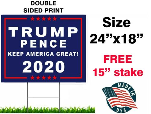 "TRUMP 2020 KEEP AMERICA GREAT 18""x24"" YARD SIGN WITH STAKE PENCE WHOLESALE USA"