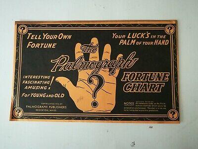 "Vintage 1936 THE PALMOGRAPH ""FORTUNE CHART "" Original sealed envelope"